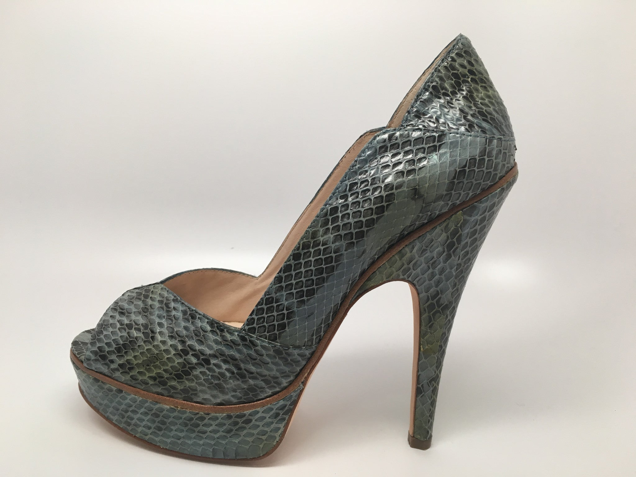 NEW HOUSE OF HARLOW LEIGH HEEL BLUE SNAKE - SIZE 9.5 US