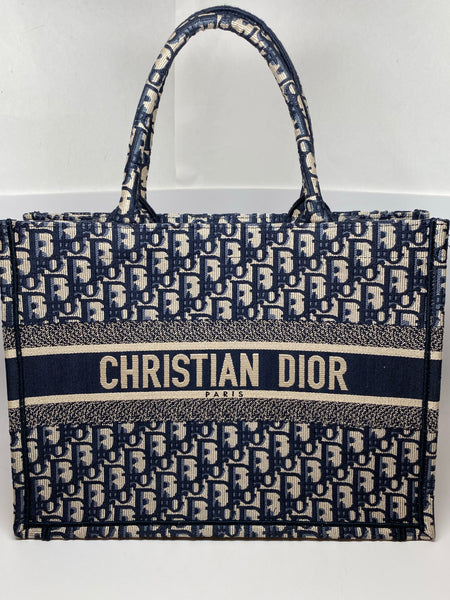 DIOR SMALL BOOK TOTE IN NAVY