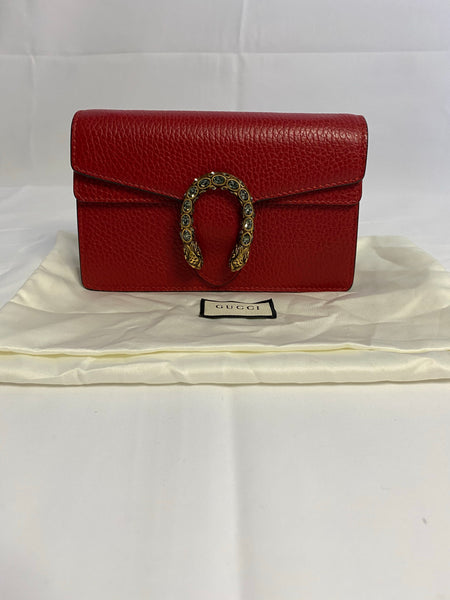 GUCCI DIONYSUS LEATHER SUPER MINI BAG IN HIBISCUS RED