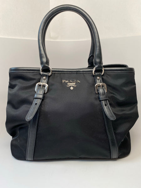 PRADA NYLON TOTE BAG IN BLACK