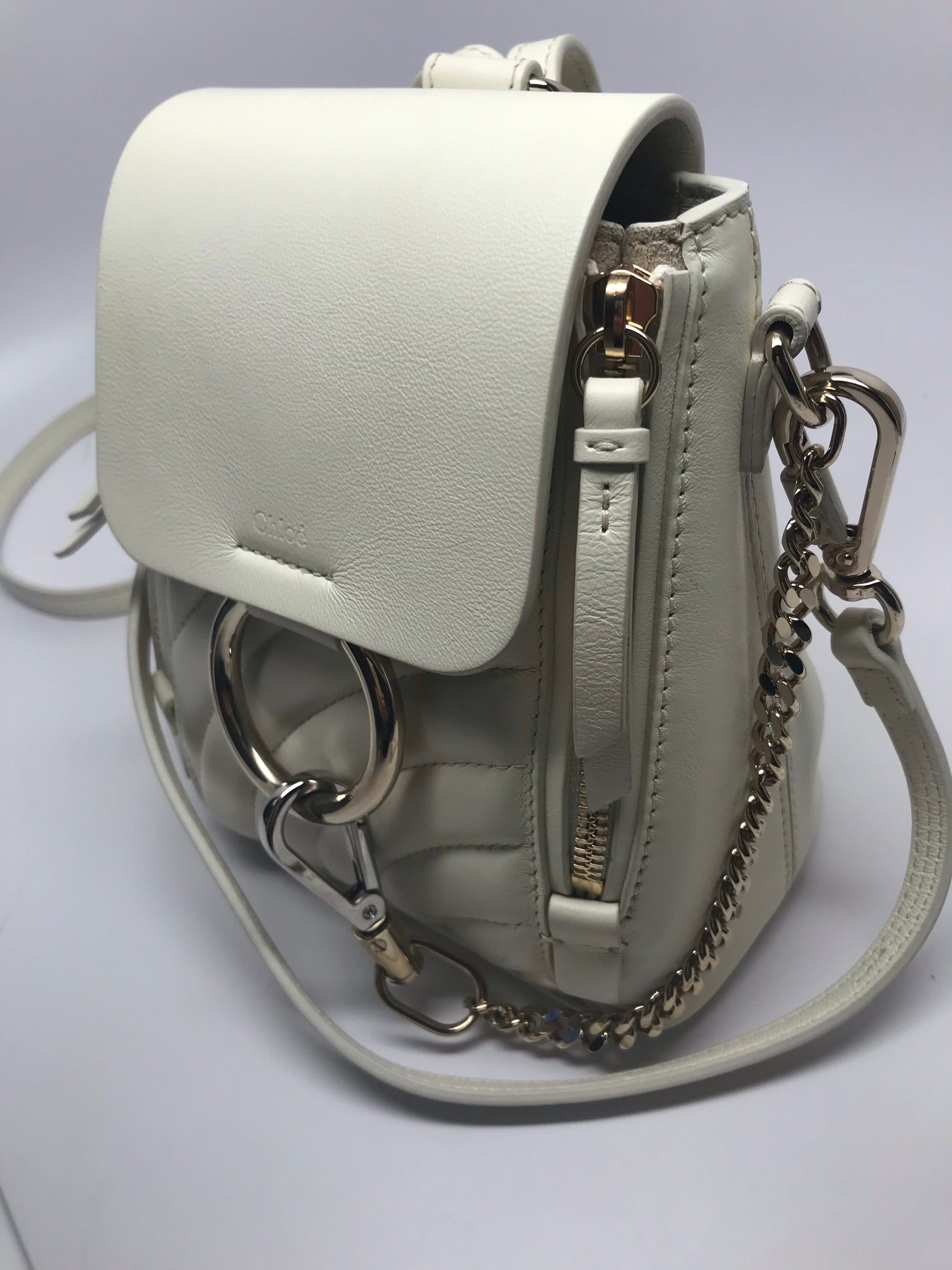 75f58aa1e5 CHLOÉ FAYE SMALL BACKPACK SHOULDER BAG - NATURAL WHITE – Hebster ...