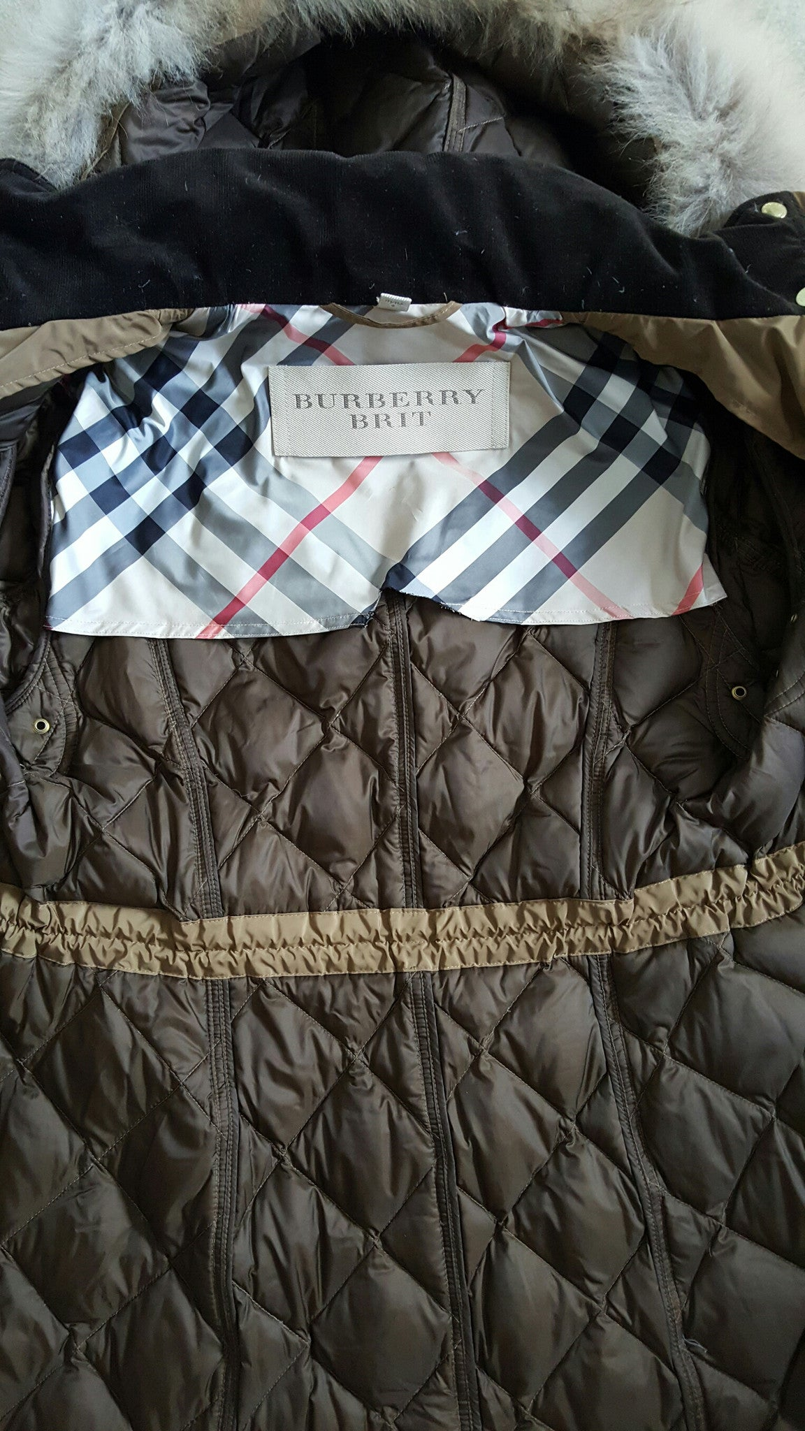 BURBERRY BRIT OLIVE GREEN DOWN JACKET WITH FUR TRIM COLLAR - SIZE LARGE