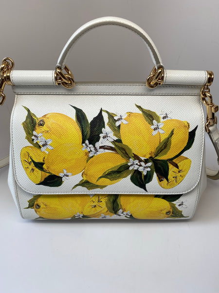 DOLCE & GABBANA MEDIUM SICILY SHOULDER BAG - LEMON PRINT DAUPHINE LEATHER