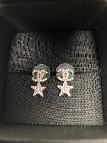 CHANEL CC TIMELESS SILVER STAR DIAMOND EARRINGS