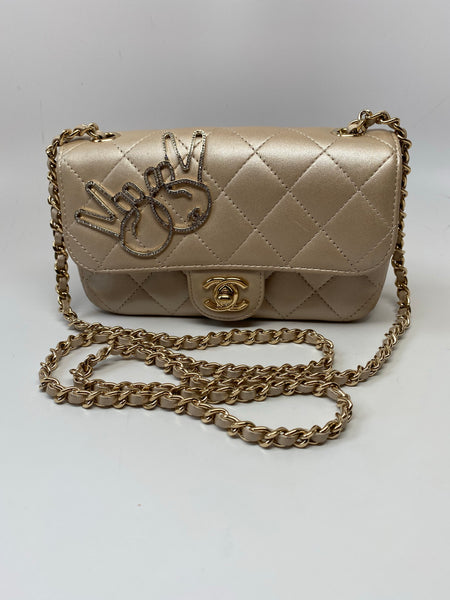 CHANEL CLASSIC METALLIC GOLD QUILTED LAMBSKIN MINI FLAP BAG
