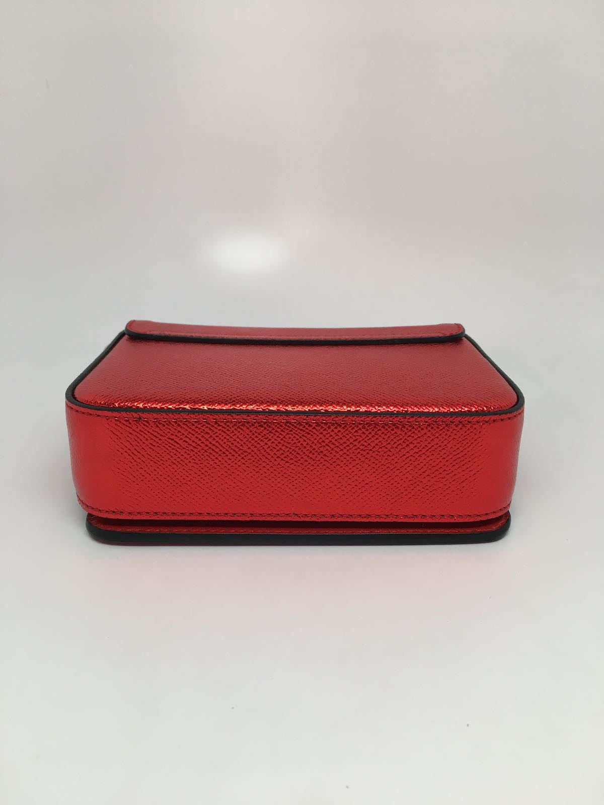 BURBERRY RED GRAINED LEATHER FLAP BAG - SMALL