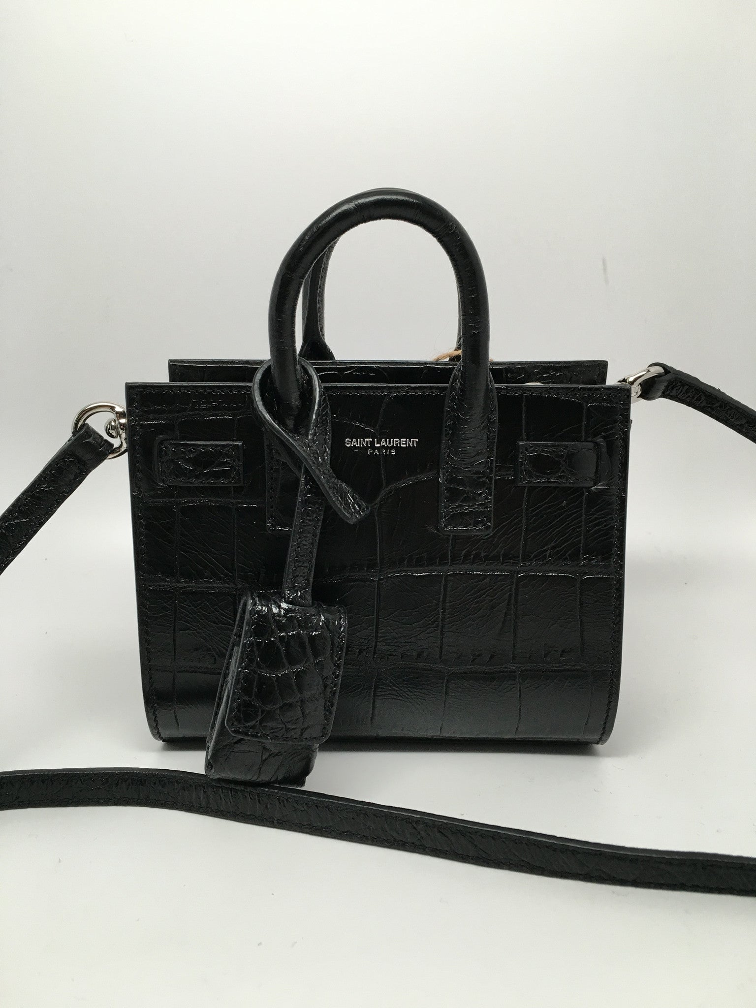 SAINT LAURENT CLASSIC SAC DU JOUR TOY CROCODILE EMBOSSED LEATHER CROSSBODY