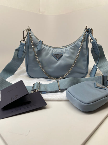 PRADA RE-EDITION 2005 NYLON BAG IN ASTRAL BLUE