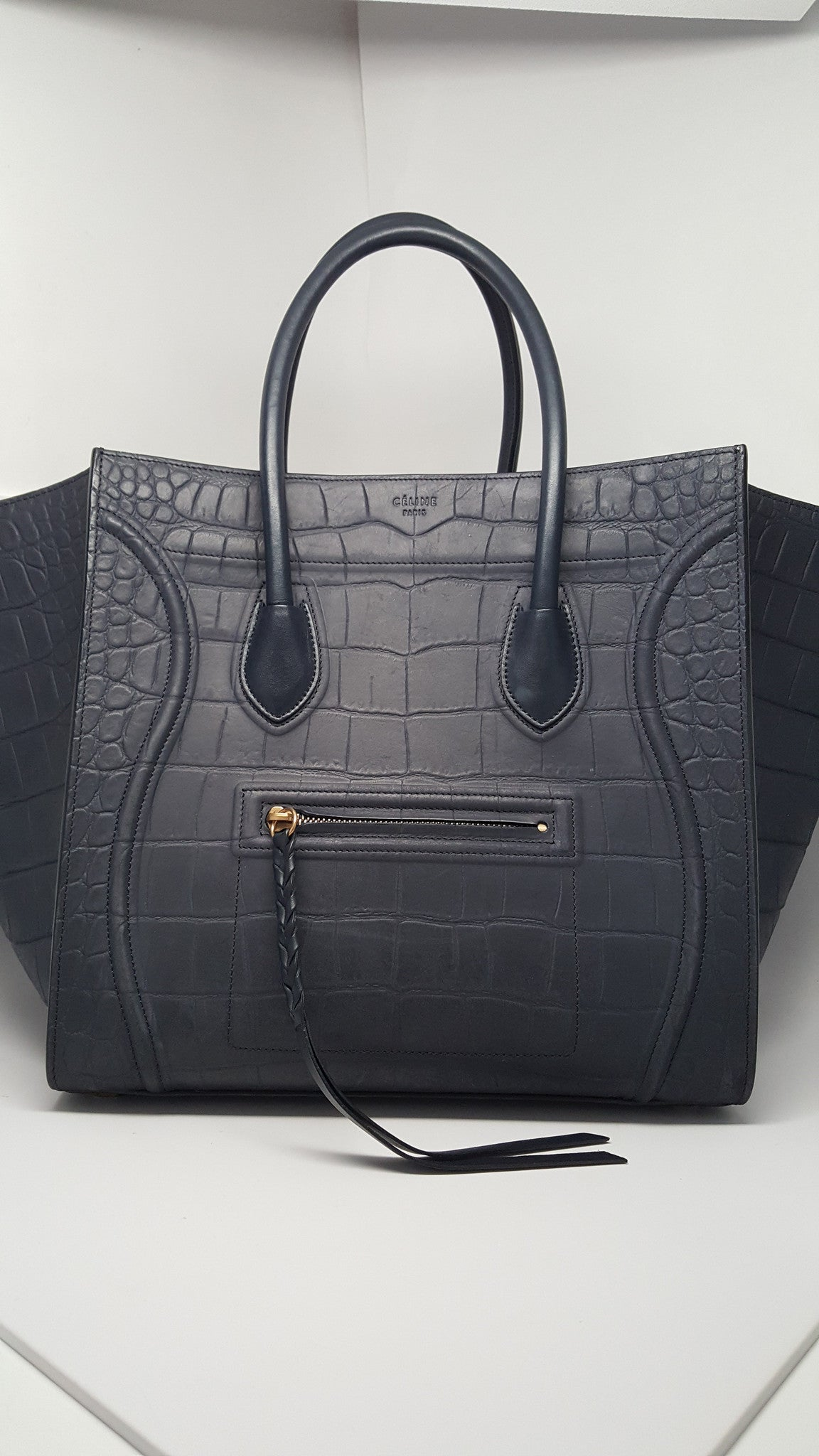CELINE NAVY BLUE STAMPED CROC MEDIUM LUGGAGE PHANTOM BAG