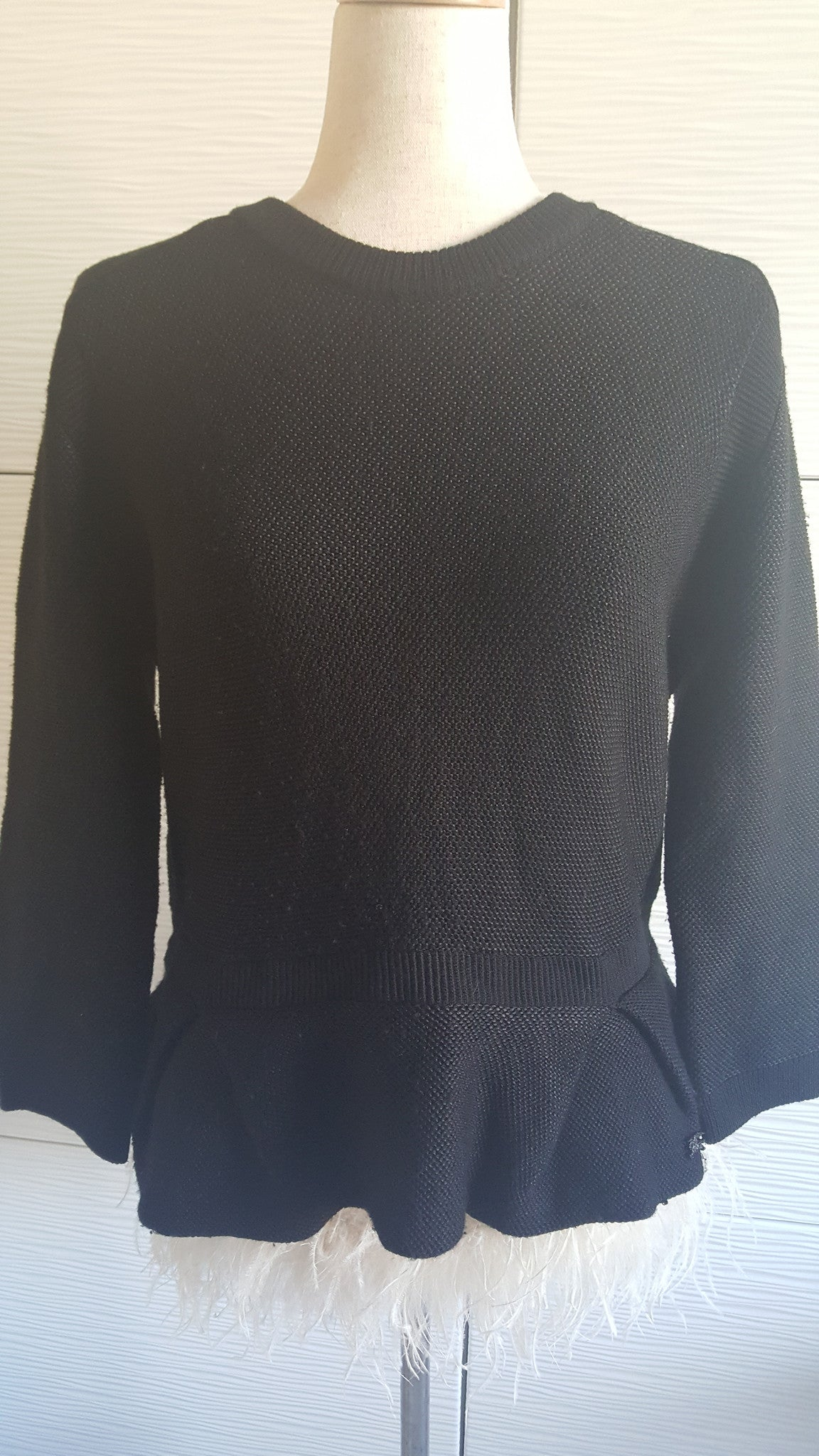 BURBERRY LONDON PEPLUM WOOL SWEATER - SIZE XL