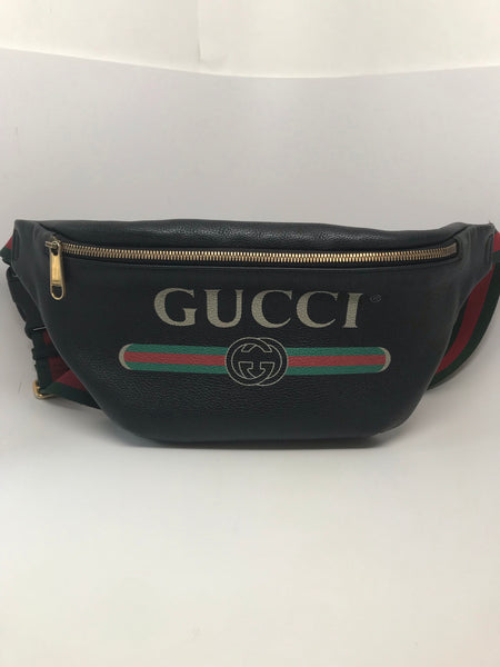 GUCCI PRINT LEATHER BELT BAG 95