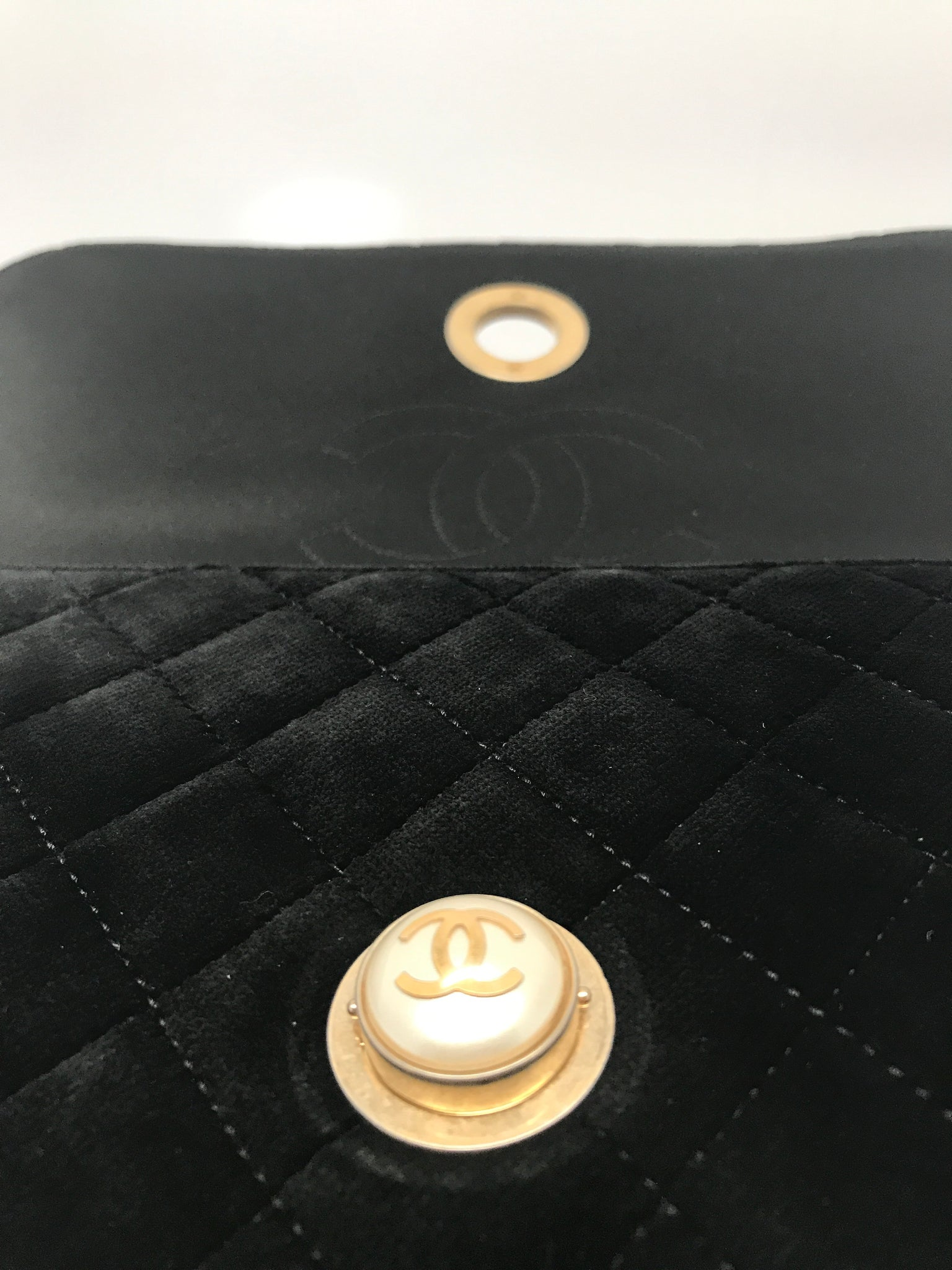 CHANEL LIMITED EDITION BLACK VELVET CLUTCH WITH GOLD-TONE METAL
