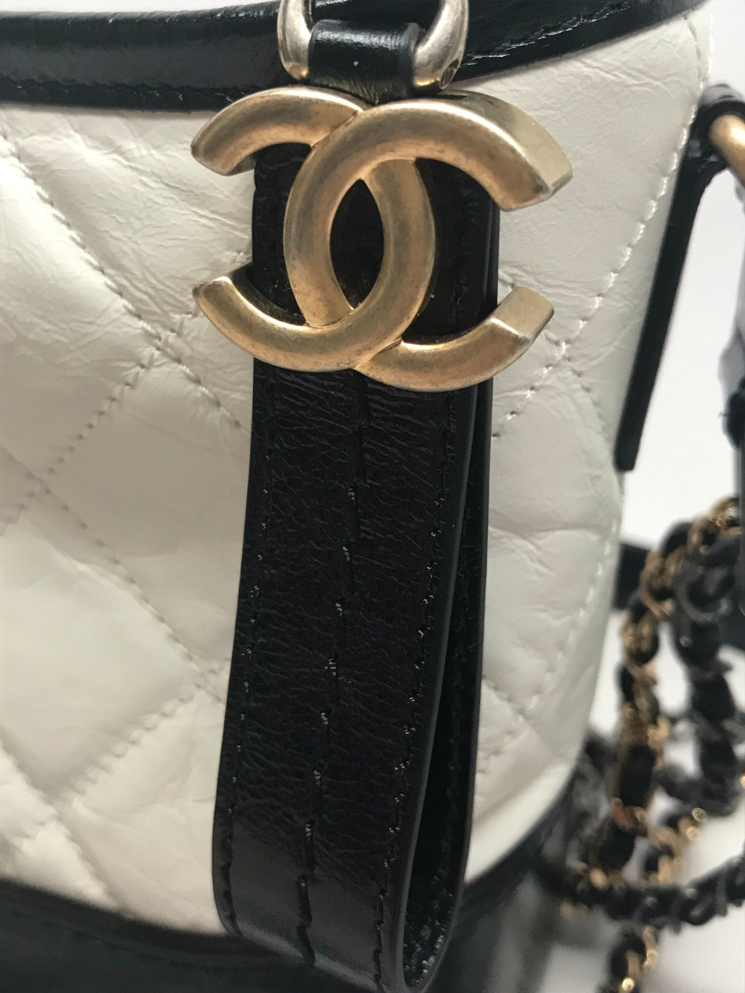 CHANEL BLACK AND WHITE SMALL GABRIELLE HOBO BAG