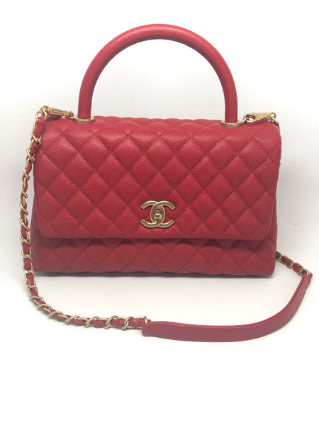 CHANEL COCO HANDLE RED - MEDIUM FLAP BAG