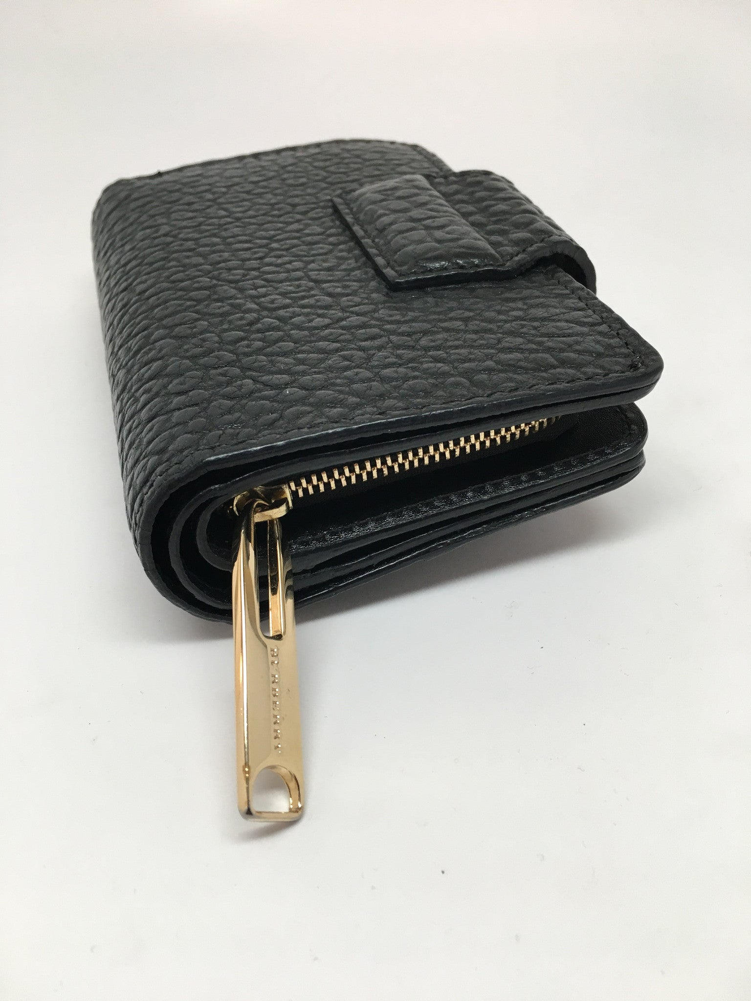 BURBERRY BLACK EMBOSSED LEATHER WALLET