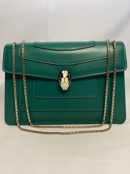BVLGARI SERPENTI FOREVER SHOULDER BAG - EMERALD GREEN