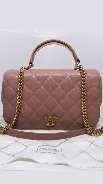 CHANEL TOP HANDLE FLAP BAG IN ROSE PINK CAVIAR LEATHER