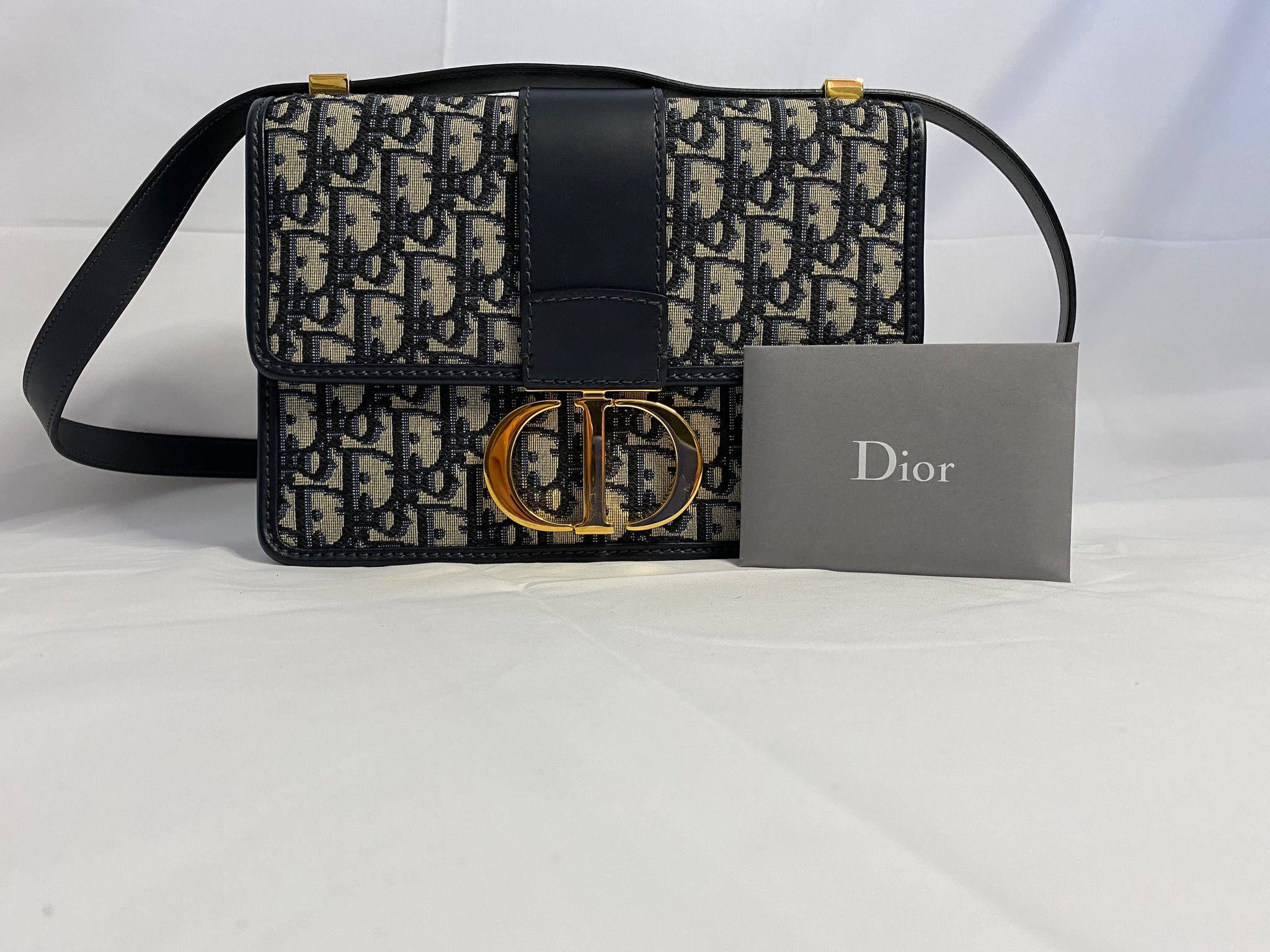 DIOR 30 MONTAIGNE OBLIQUE BAG - BLUE JACQUARD CANVAS