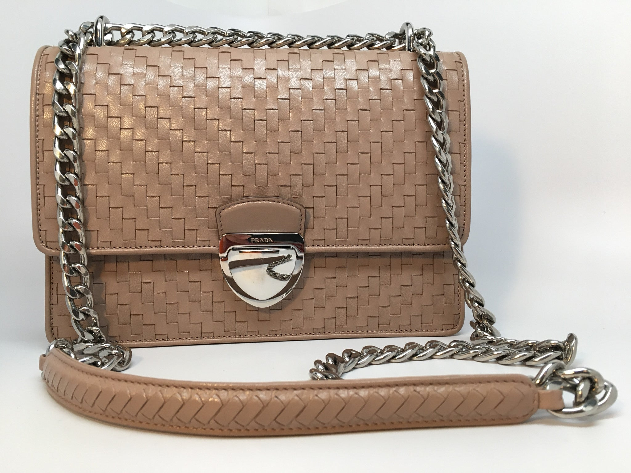 59f58f2aa779 PRADA MADRAS WOVEN LEATHER CHAIN BAG – Hebster Boutique
