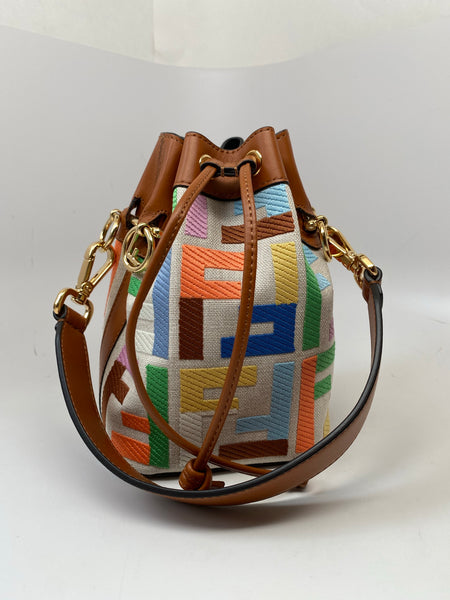 FENDI MON TRESOR MINI BAG IN BEIGE CANVAS