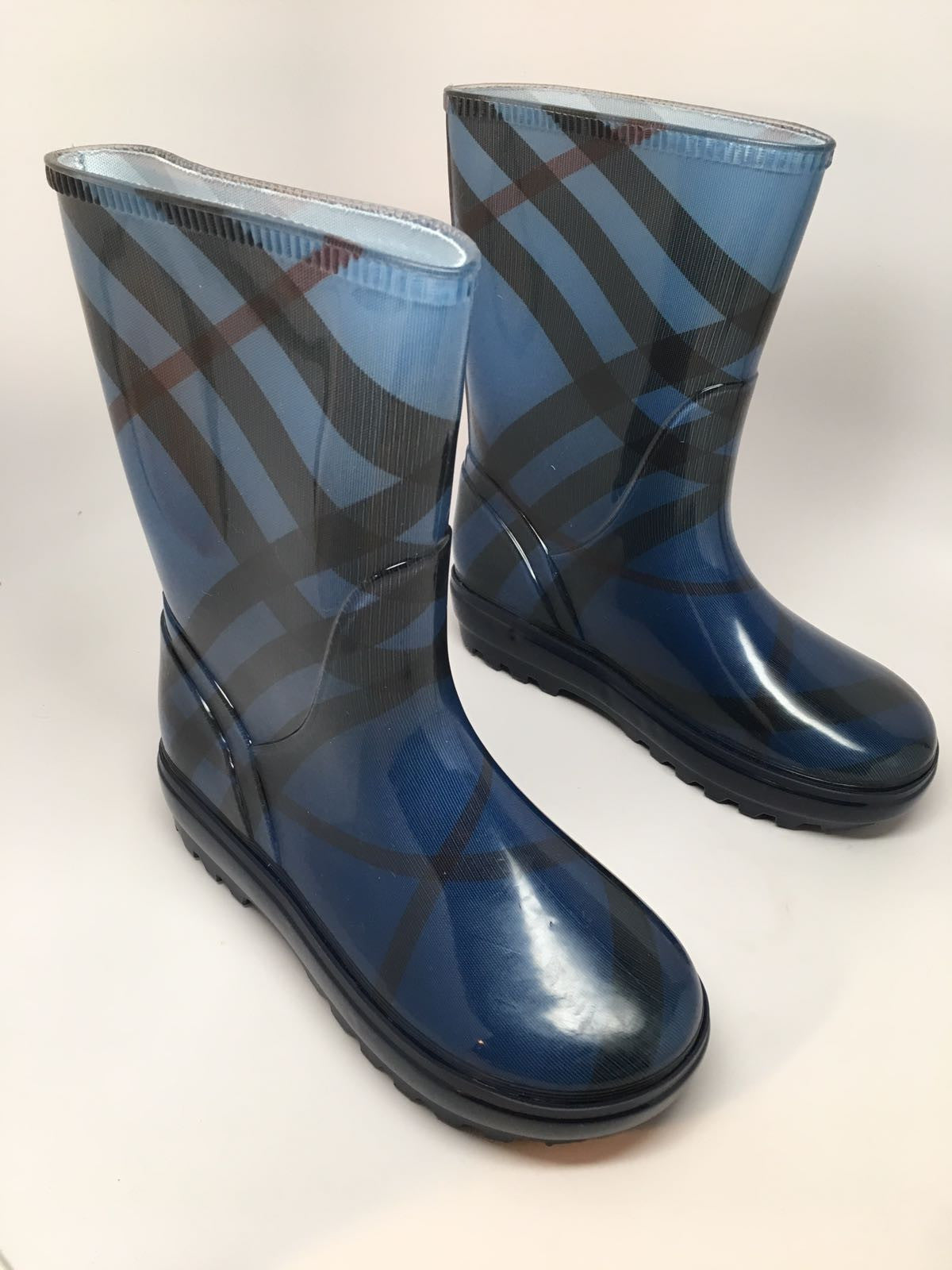 BURBERRY FROGRISE RAIN BOOT, JET BLUE - SIZE 33/34