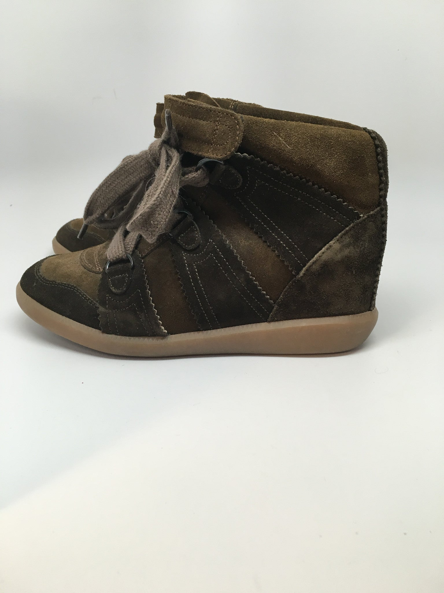 ISABEL MARANT BOBBY WEDGE SNEAKERS - BROWN - SIZE 37