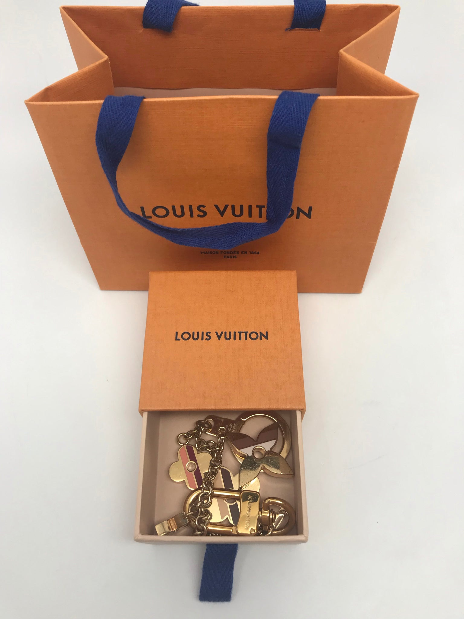 LOUIS VUITTON STRIPES FLOWERS BAG CHARM