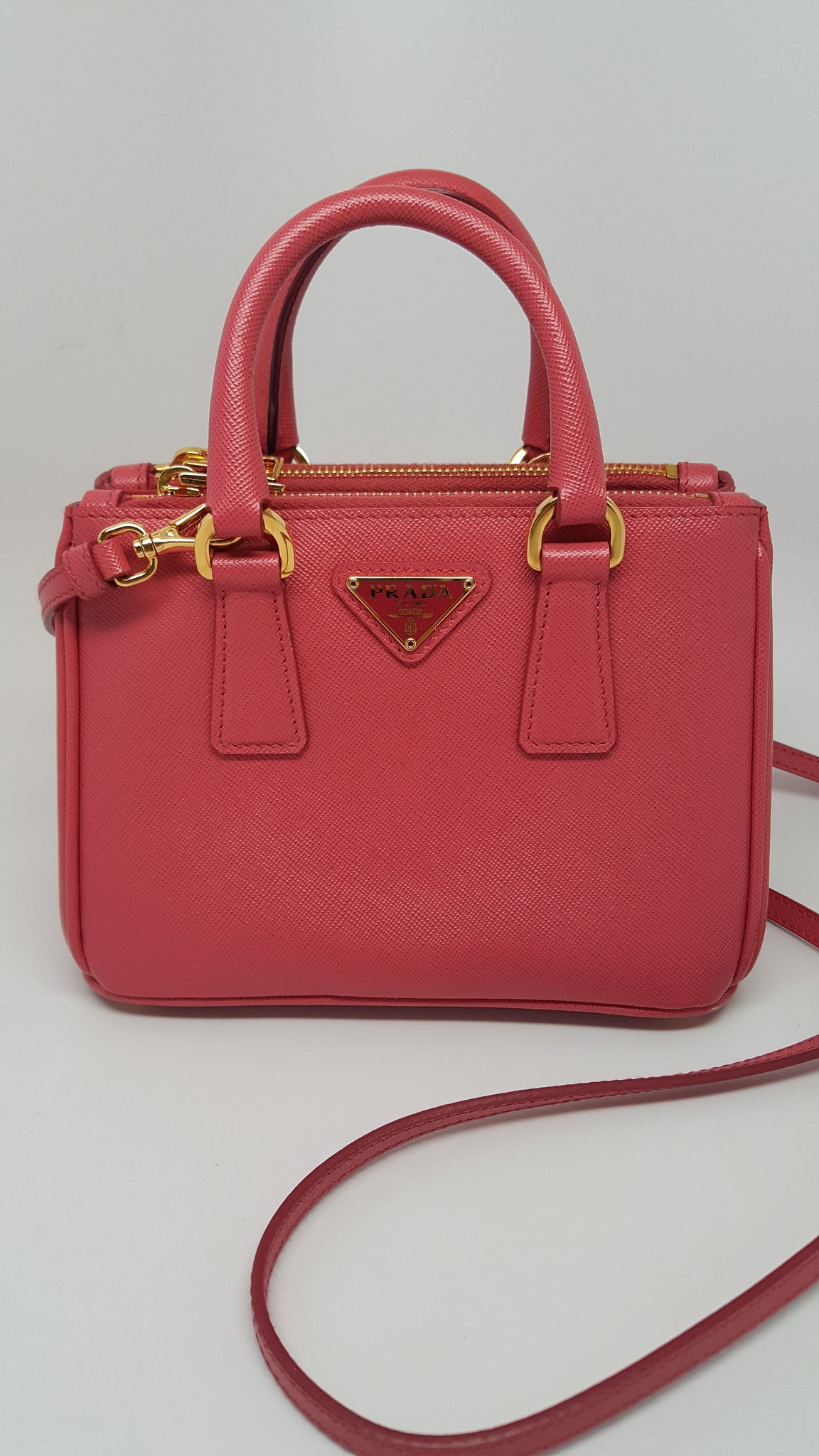PRADA SAFFIANO LUX LEATHER NANO TOTE BAG BN2842 - PEONIA