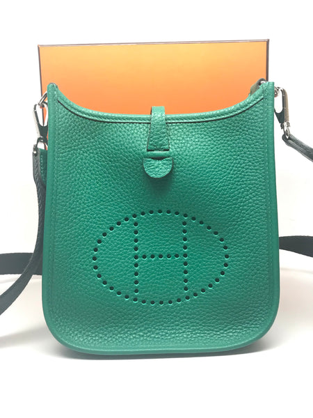 HERMES SAC EVELYNE CLEMENCE WITH CANVAS STRAP TPM (MINI) - VERT VERTIGO