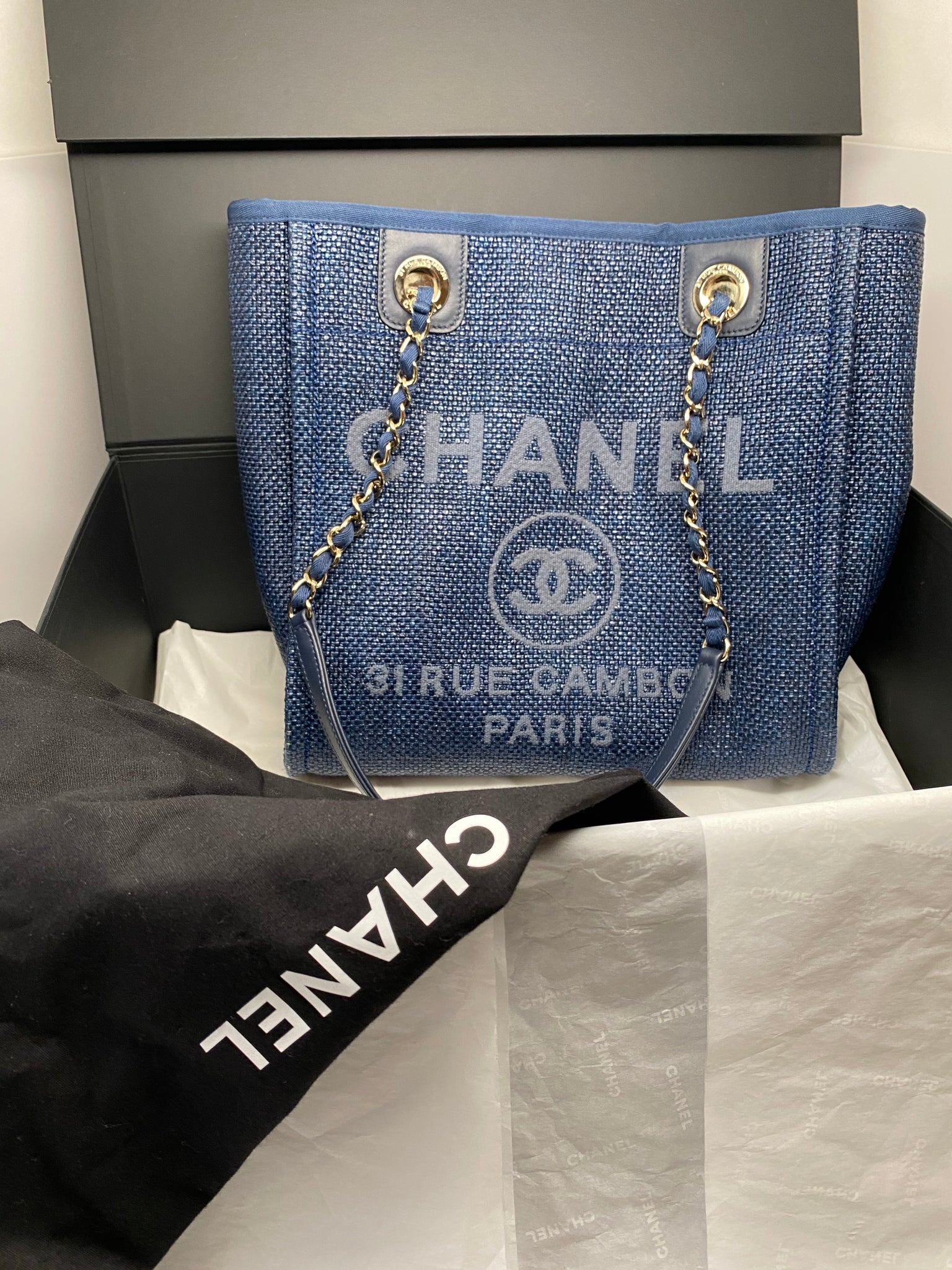 CHANEL SMALL DEAUVILLE TOTE SHOPPING BAG