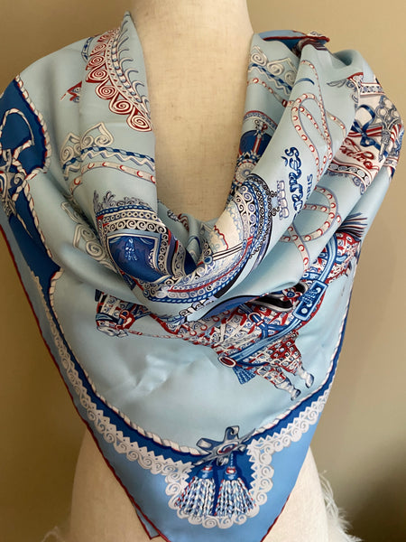 HERMES PAPEROLES 100% SILK TWILL SCARF