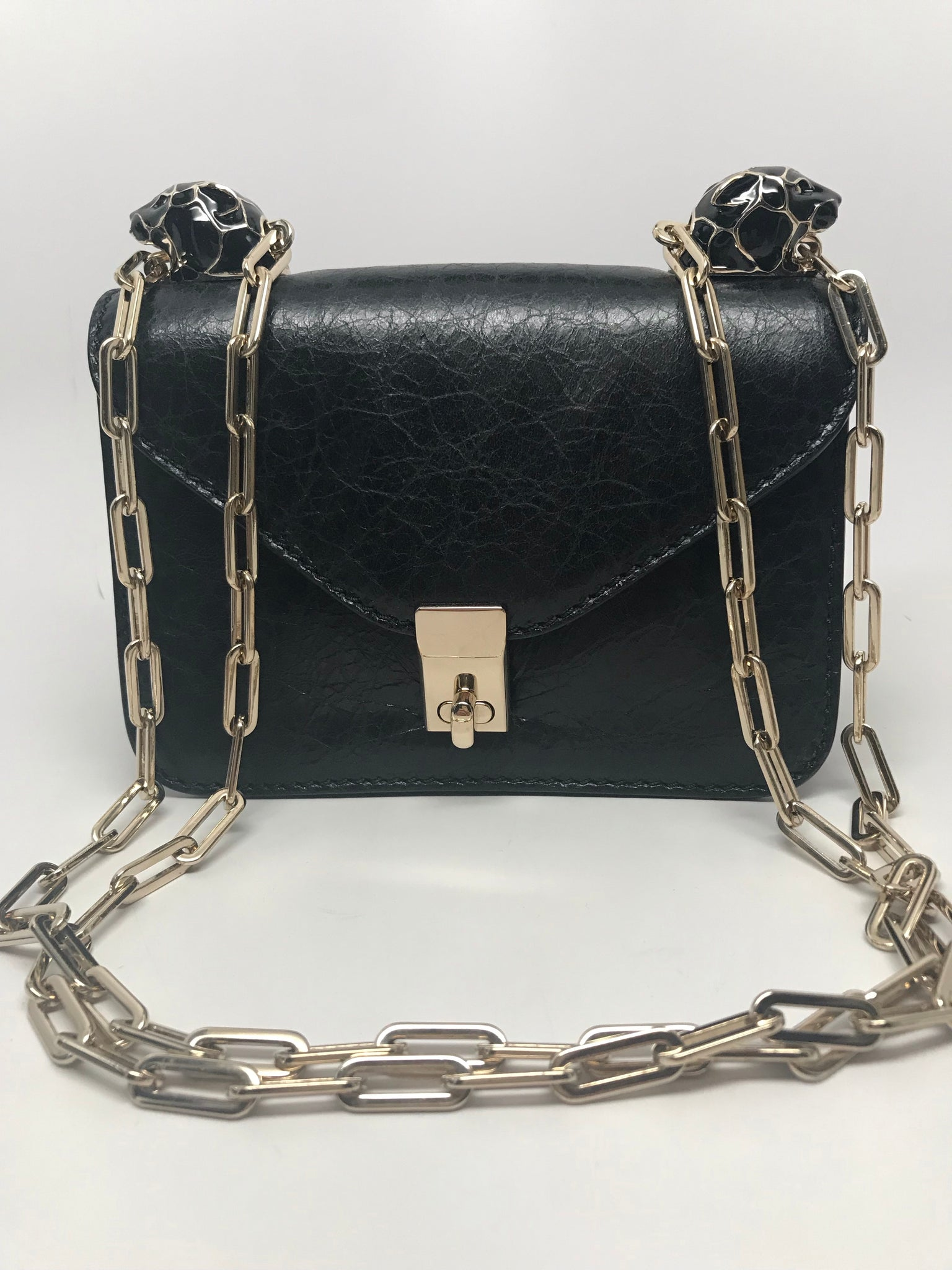 VALENTINO GARAVANI BLACK PANTHER CHAIN LINK SHOULDER BAG