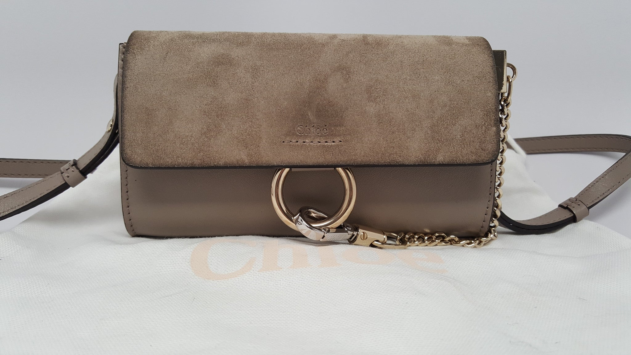 6482e1bc13e7 CHLOÉ FAYE MINI  MOTTY GRAY  LEATHER AND SUEDE SHOULDER BAG CLUTCH ...
