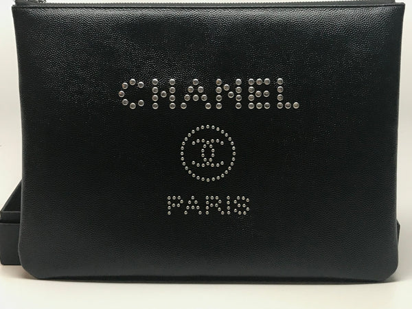 CHANEL BLACK CAVIAR SKIN CLUTCH WITH SILVER STUDS