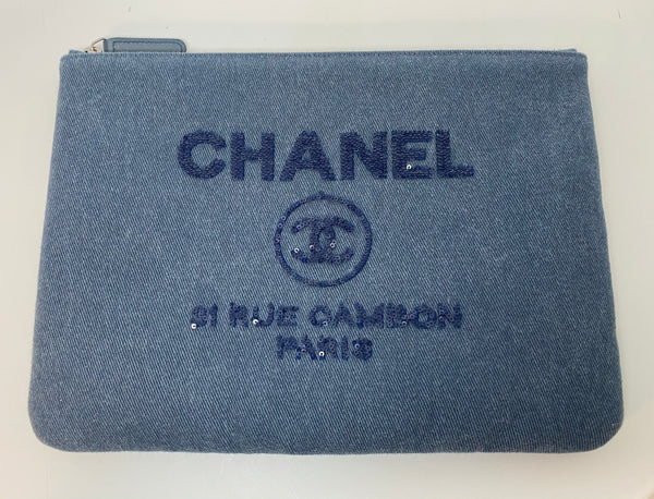 CHANEL DENIM SEQUENCE EMBELLISHED CLUTCH