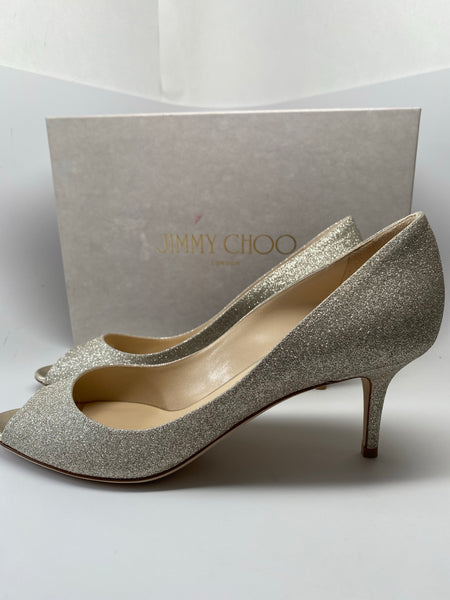 NEW JIMMY CHOO ISABEL PLATINUM ICE GLITTER PEEP TOE PUMPS SIZE 40