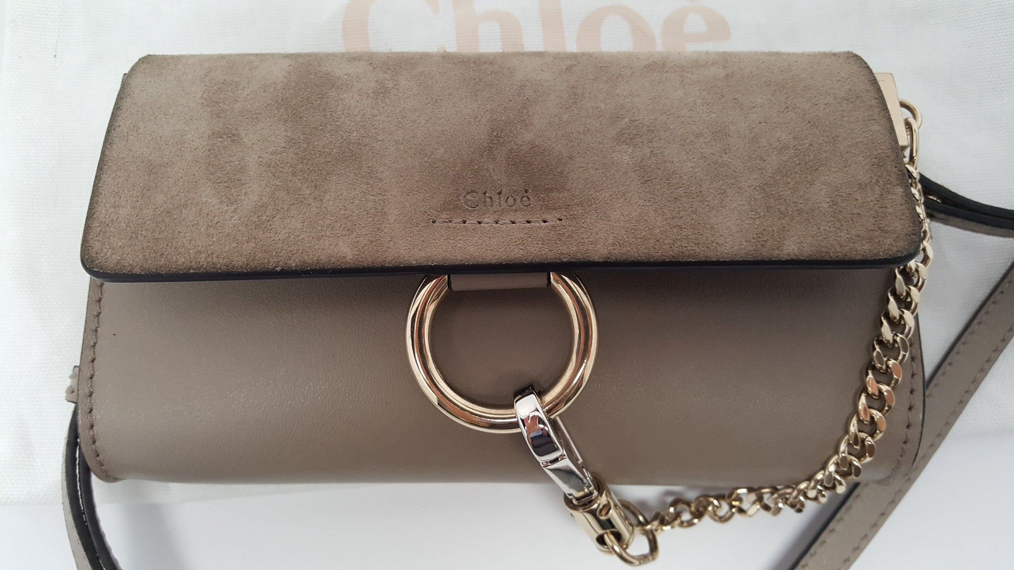 CHLOÉ FAYE MINI 'MOTTY GRAY' LEATHER AND SUEDE  SHOULDER BAG/CLUTCH