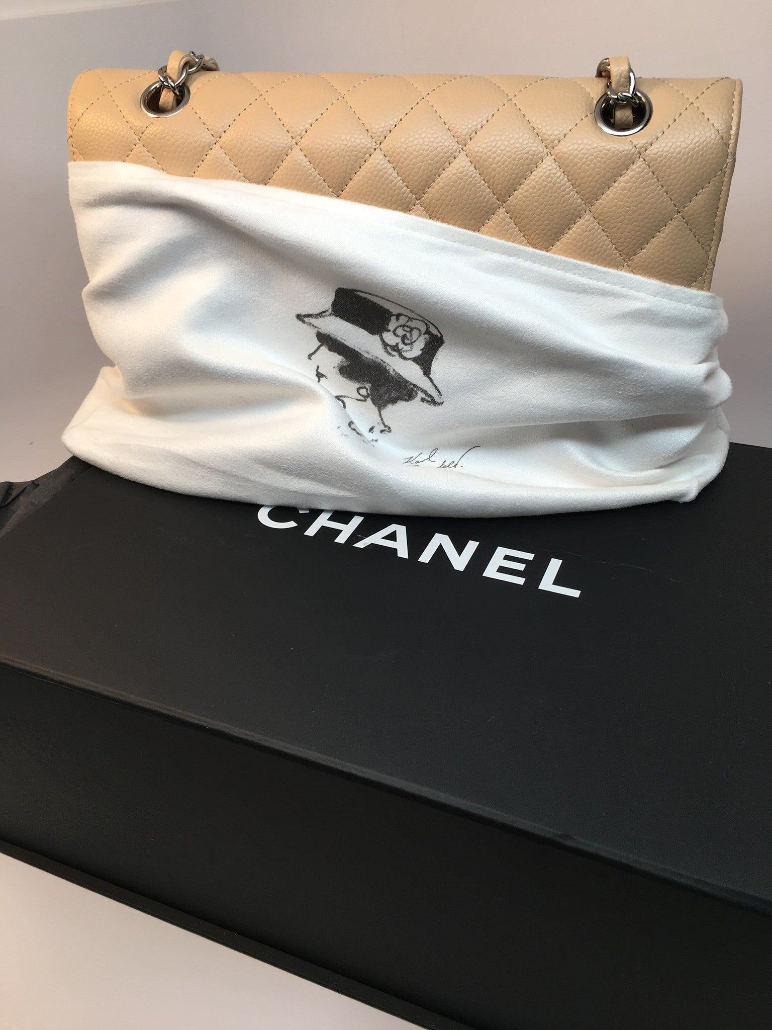 CHANEL BEIGE CAVIAR MEDIUM 2.55 CLASSIC DOUBLE FLAP BAG