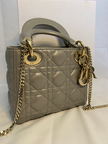 MINI LADY DIOR BAG WITH CHAIN - OPAL GREY PEARLY LAMBSKIN