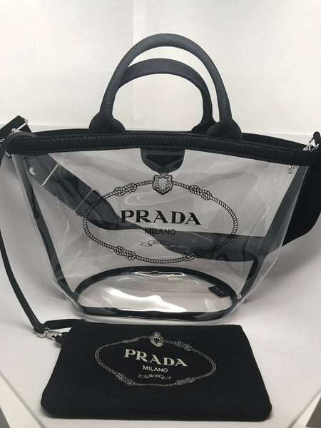 PRADA PVC TRANSPARENT TOTE - LARGE