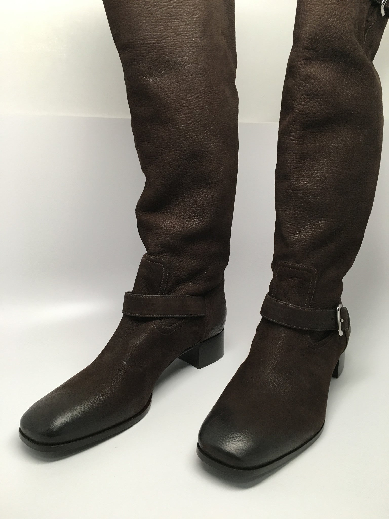 NEW PRADA CALZATURE DONNA CAPRA ANTIC 2 BROWN LEATHER BOOTS SIZE 39