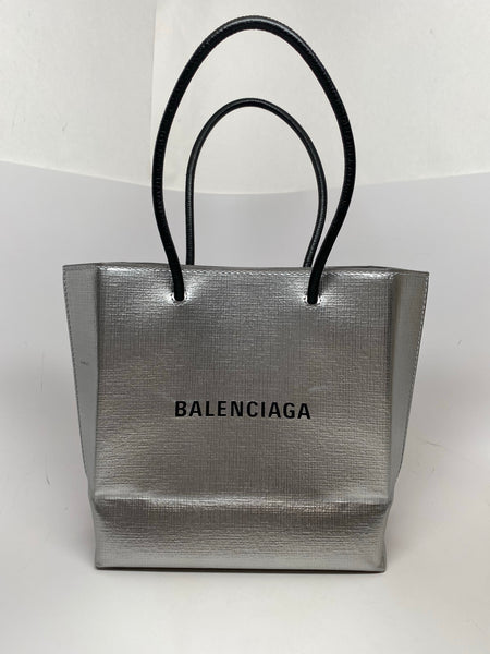 BALENCIAGA SHOPPING XXS NORTH SOUTH SILVER TOTE BAG