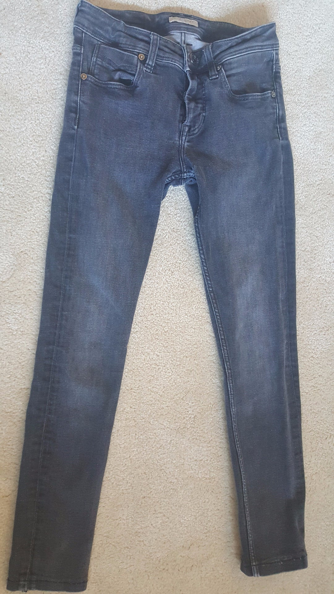 BURBERRY BRIT SKINNY CROPPED LEG JEANS, GRAY - SIZE 25