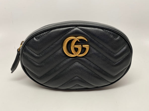 GUCCI GG MARMONT MATELASSE LEATHER BELT BAG - SIZE 85