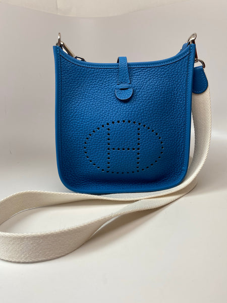 HERMES EVELYNE CANVAS STRAP TPM (MINI) - AZURE
