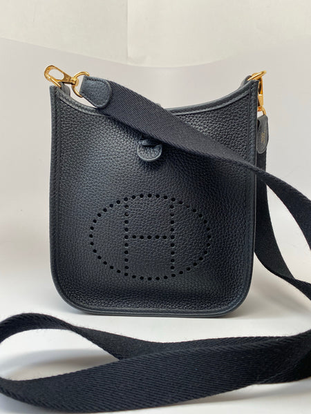 HERMES BLACK EVELYNE CANVAS STRAP TPM (MINI)