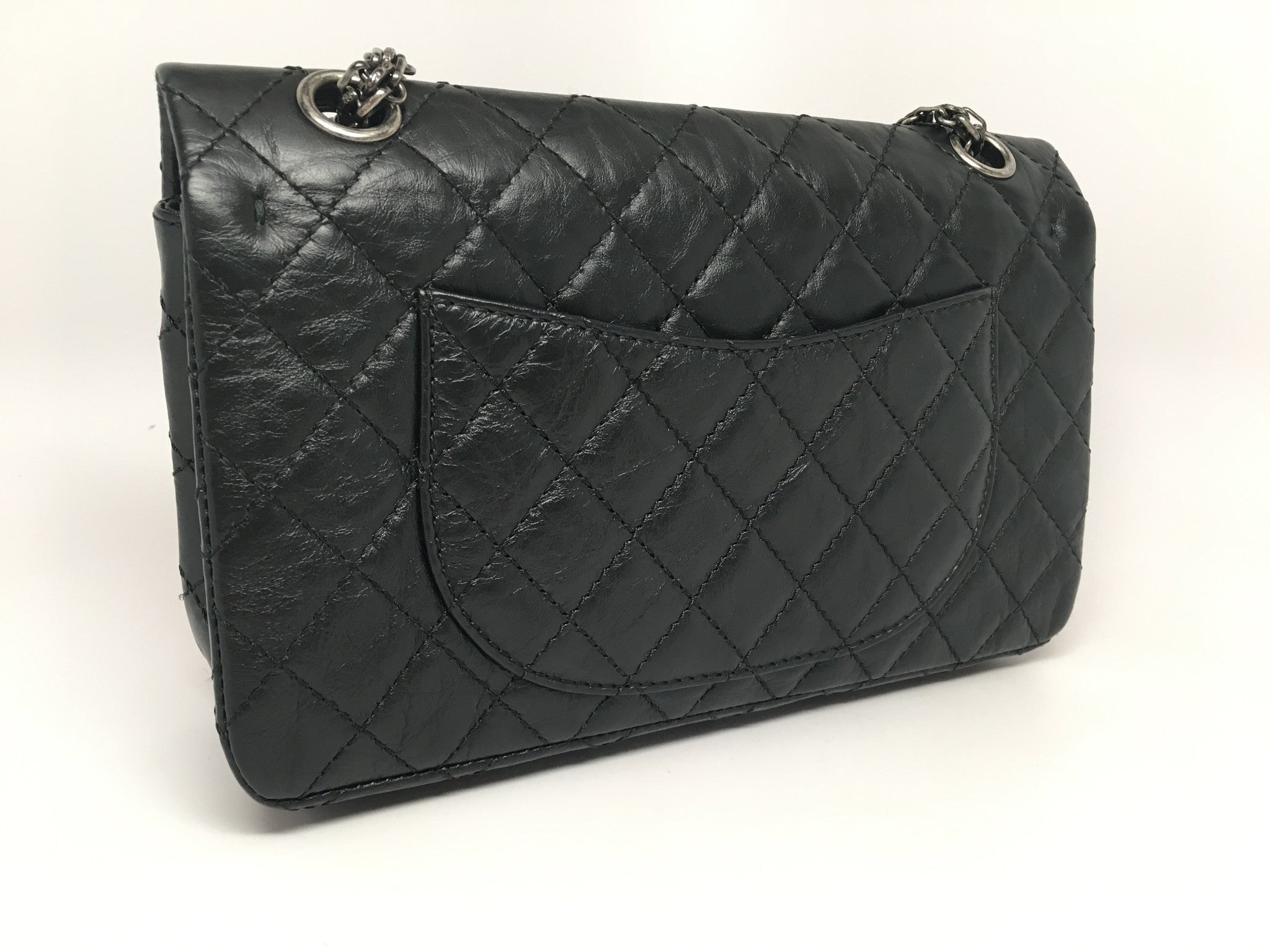 CHANEL VINTAGE LIMITED EDITION BLACK QUILTED LUCKY CHARM 2.55 FLAP BAG REISSUE