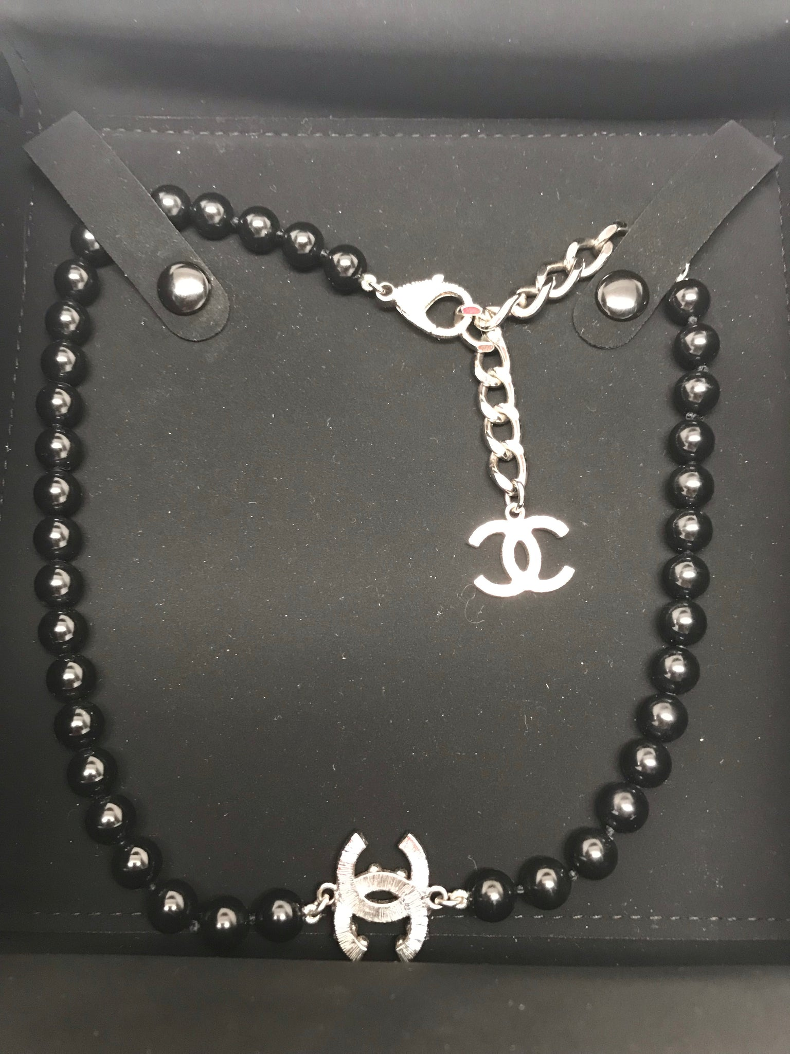 CHANEL CLASSIC EMBELLISHED BLACK PEARL CC CHOKER NECKLACE