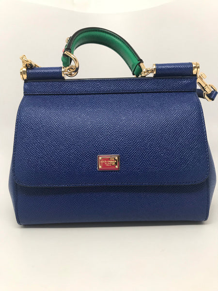 DOLCE & GABBANA MINI SICILY SHOULDER BAG - BLUE DAUPHINE LEATHER