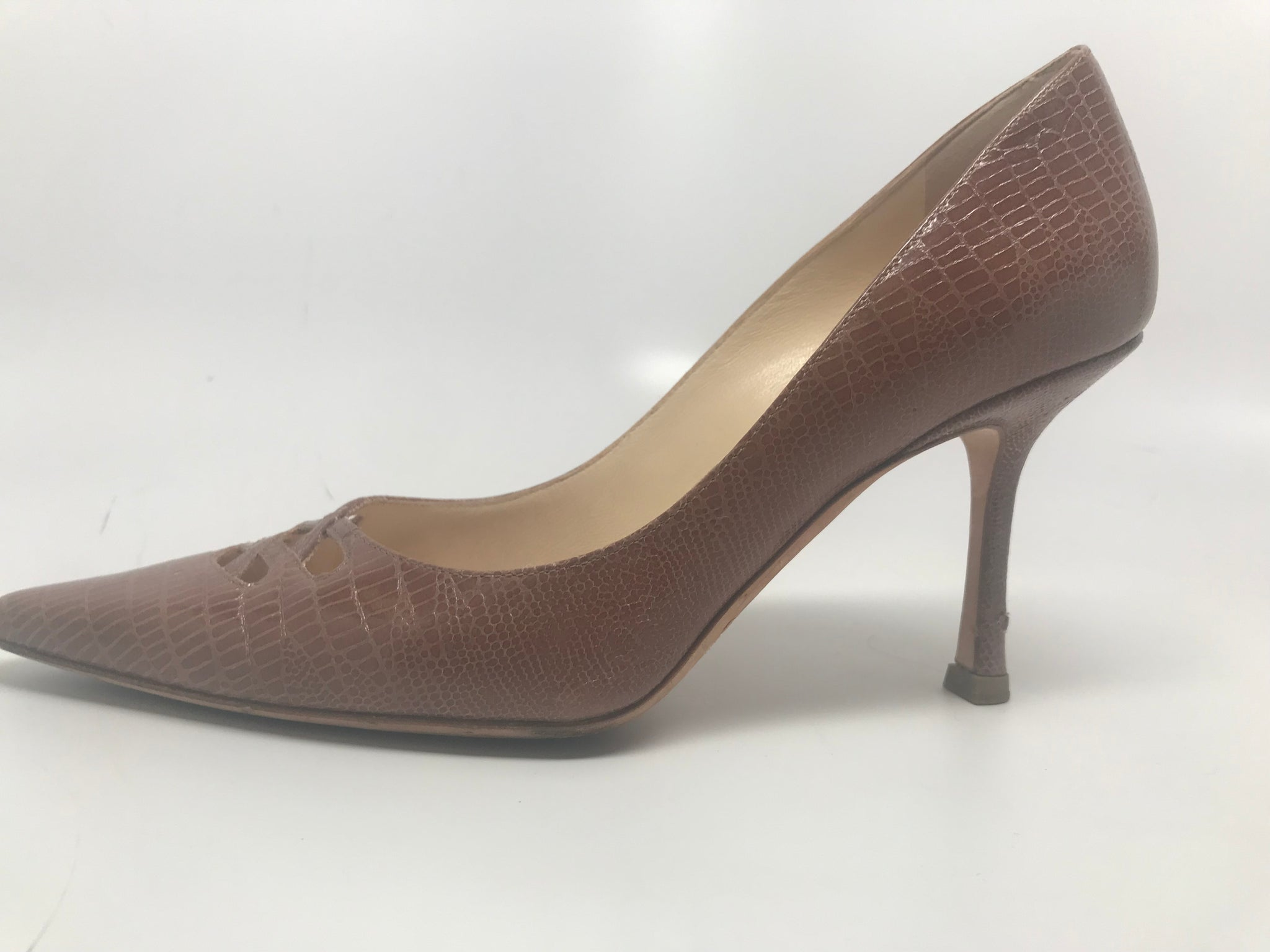JIMMY CHOO LIZARD EMBOSSED PUMP - TAN - SIZE 37.5